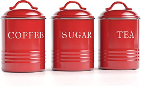 Sugar Storage Canister Kitchen Canisters Jars Pots Jar Container Metal Red