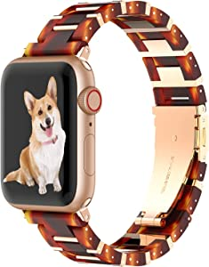 Wearlizer Stainless Steel & Resin Compatible with Apple Watch Band 40mm 38mm for iWatch SE Light Womens Mens Metal Bar Block Unique Wristband for Series 6 5 4 3 2 1-Deep Rose Gold+Tortoise