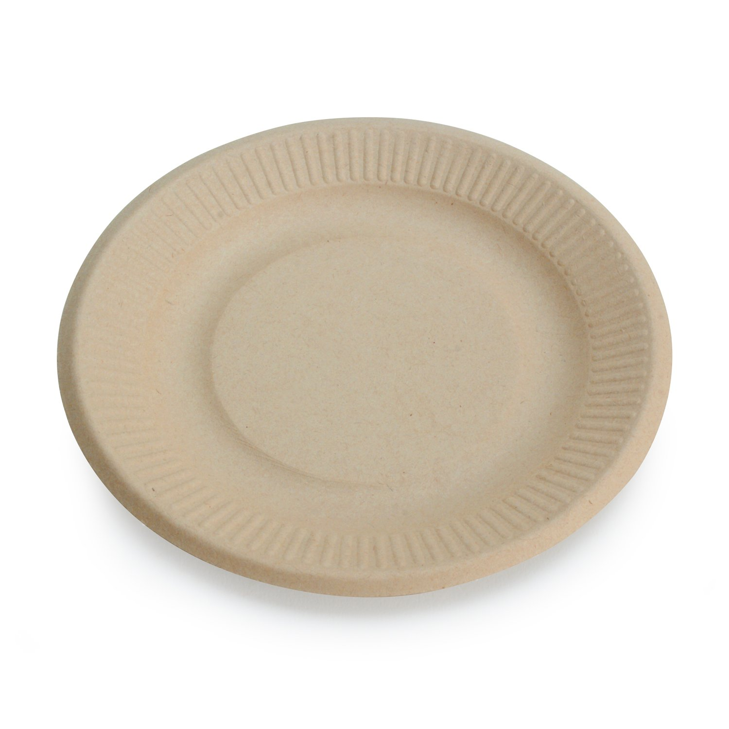 "Earth's Natural Alternative Wheat Straw Fiber, Bagasse (Sugarcane) Tree Free 6"" Plate, 50 Pack"