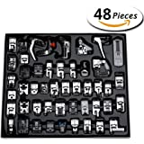 Aiskaer Professional 48pcs Sewing Machine Presser Feet Set for Brother, Babylock, Singer, Janome