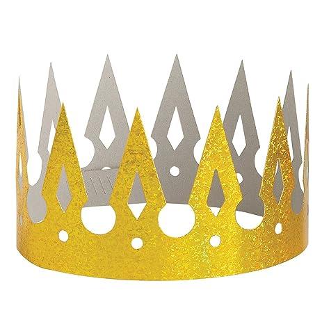 Amazon.com: Prismatic Gold Paper Crown: Childrens Party Supplies ...