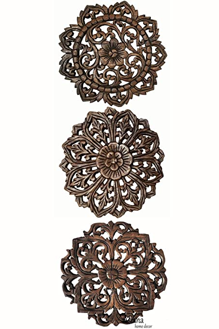 Amazon Com Set Of 3 Carved Wood Wall Plaques Floral Wood Wall