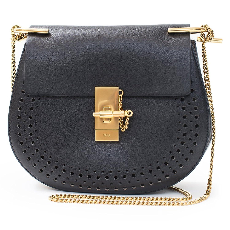 Chloe Black Perforated Medium Drew Italian Handbag Shoulder Bag