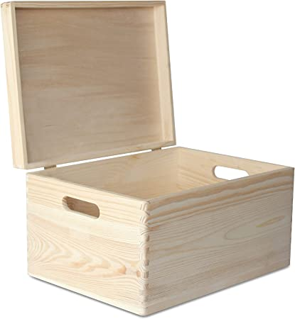 Creative Deco Xxl Boite De Rangement Bois Grande 40x30x24cm 1cm Avec Couvercle Et Poignees Non Peinte Caisse Coffre Malle A Decorer Jouet Outil Document Objet