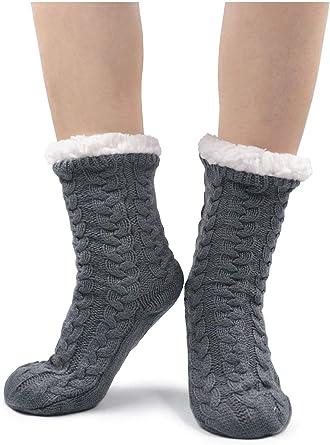 Women Ladies Soft Fluffy Fur Thermal Socks Winter Warm Slipper Fleece Lined Sock