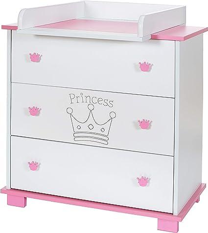 commode bebe avec table a langer amoviable 3 tiroirs grande princess rose blanc