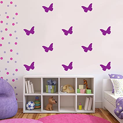 Amazon.com: Set of 30 Butterflies Vinyl Wall Art Decals - 5 ...