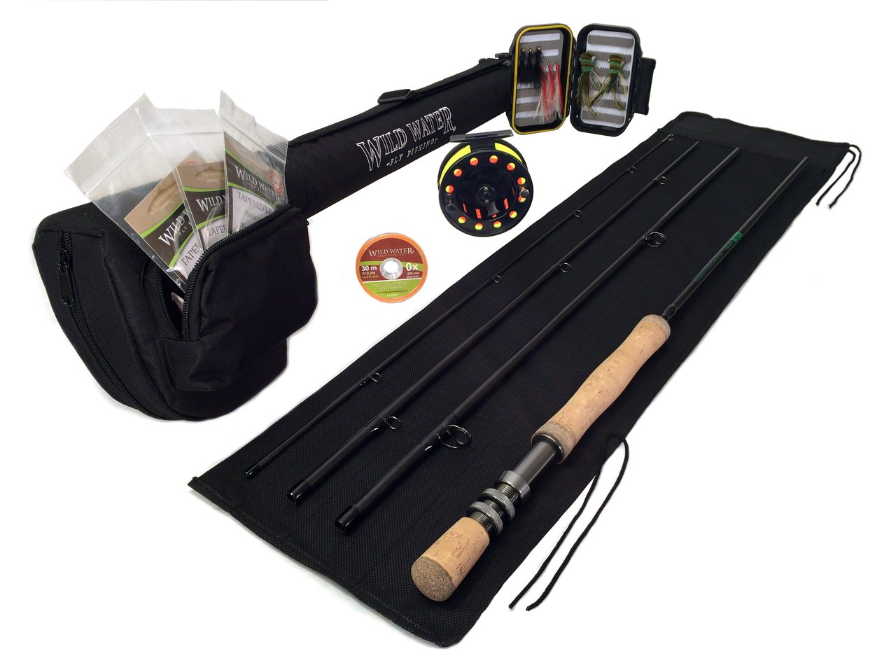 DELUXE Wild Water Fly Fishing Complete AX78-090-4 Starter Package (Freshwater Fly Assortment) by Wild Water