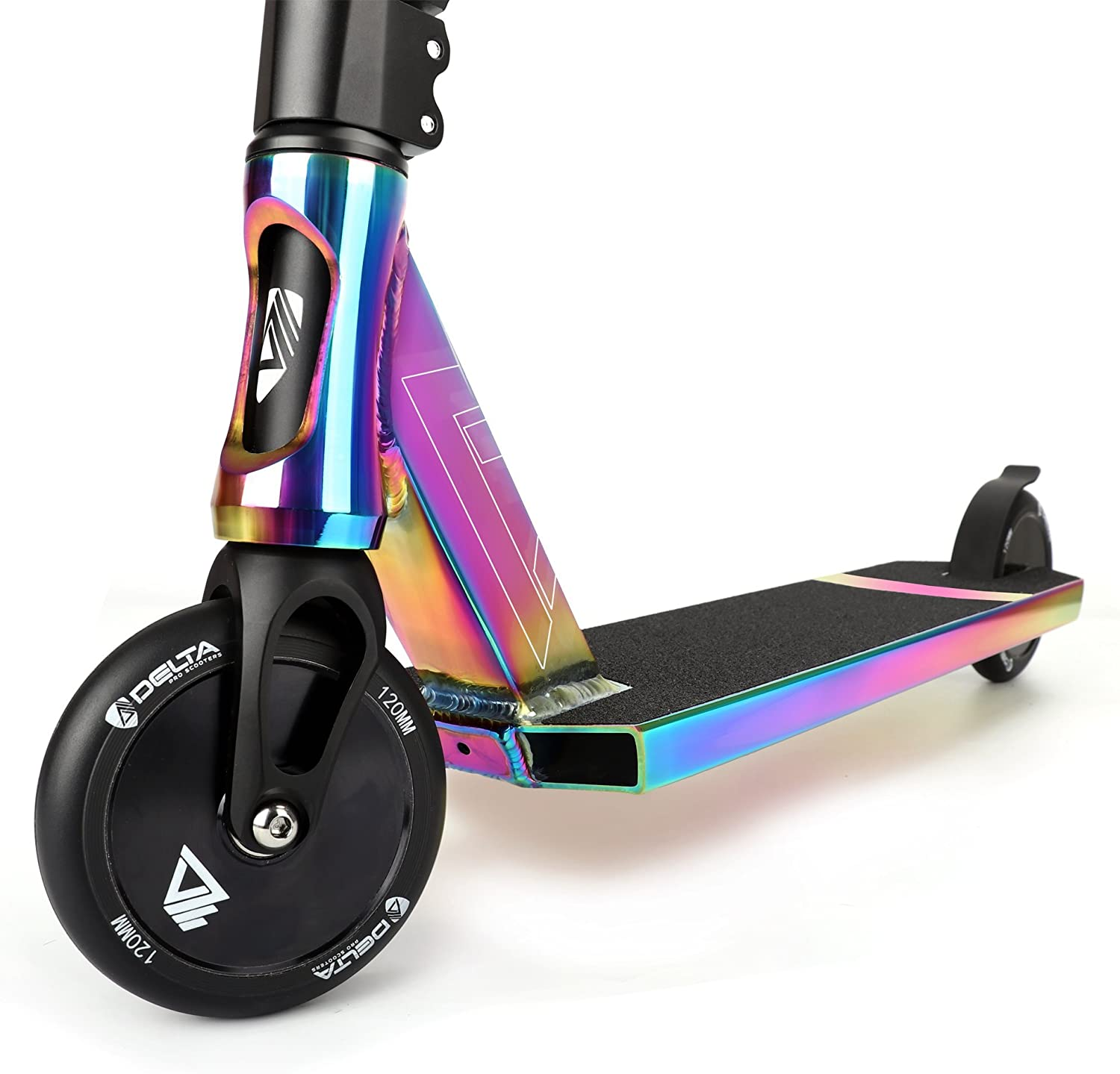 Rider designed deck perfect for street or park DELTA MACH ONE Complete Pro Scooter Re-Engineered Fork for 3x strength HIC Compression 7073 Aircraft grade aluminum Integrated Headset TWO sets of 120mm Wheels