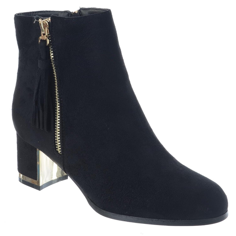1c5e7be096e Womens Ladies Low MID Block Heel Zip UP Tassel Chelsea Ankle Boots ...