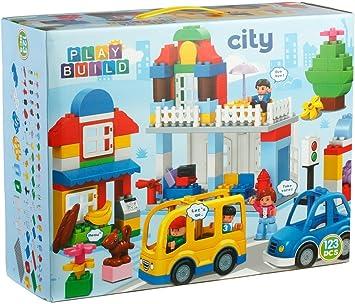Playmags Juego de Bloques de construcción Build Build City -123 Piezas - Incluye Tienda de comestibles, Caja registradora, casa, árbol, automóvil, Mini Figuras y más - Compatible con Lego Duplo: Amazon.es: Juguetes