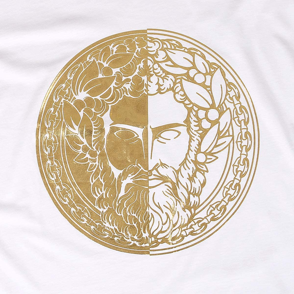 VERSACE JEANS COUTURE Mens Emperor Hadrian Print T Shirt White / Gold
