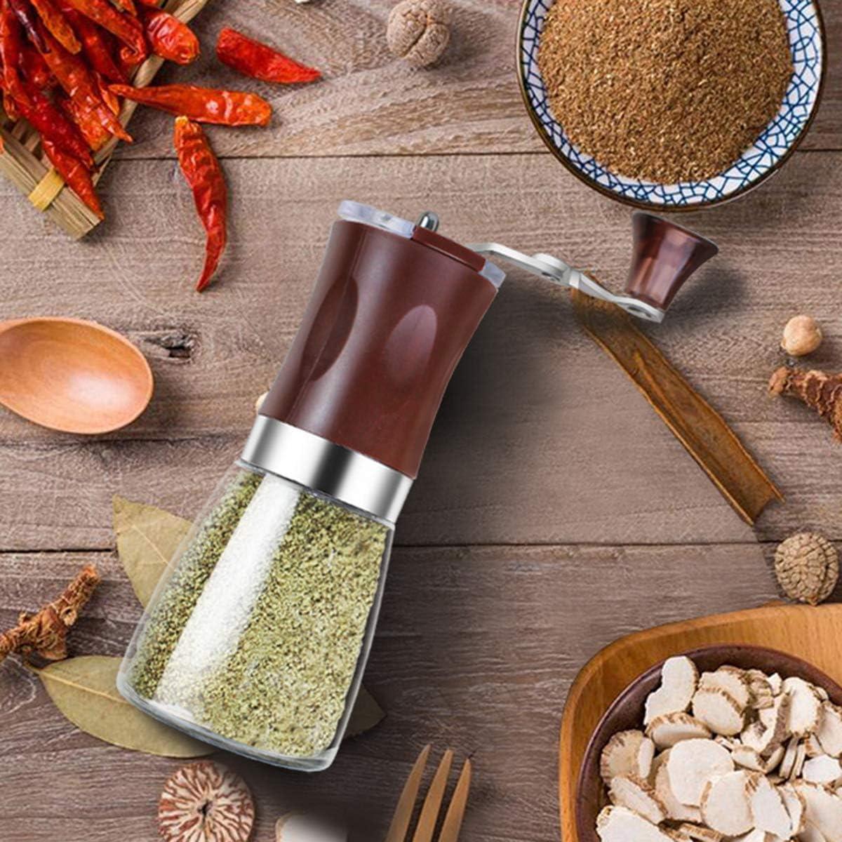 Salt and Pepper Grinder Set Manual Pepper and Salt Mill with Crank Handle with Glass Bottle Salt Grinder Adjustable Coarseness Salt and Pepper Shakers for Barbecue,Coffee Beans or Dinner,Brown