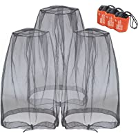 Anvin Mosquito Head Nets Gnat Repellant Head Netting for No See Ums Insects Bugs Gnats Biting Midges from Any Outdoor Activities, Works Over Most Hats Comes with Free Stock Pouches (3pcs, Black)