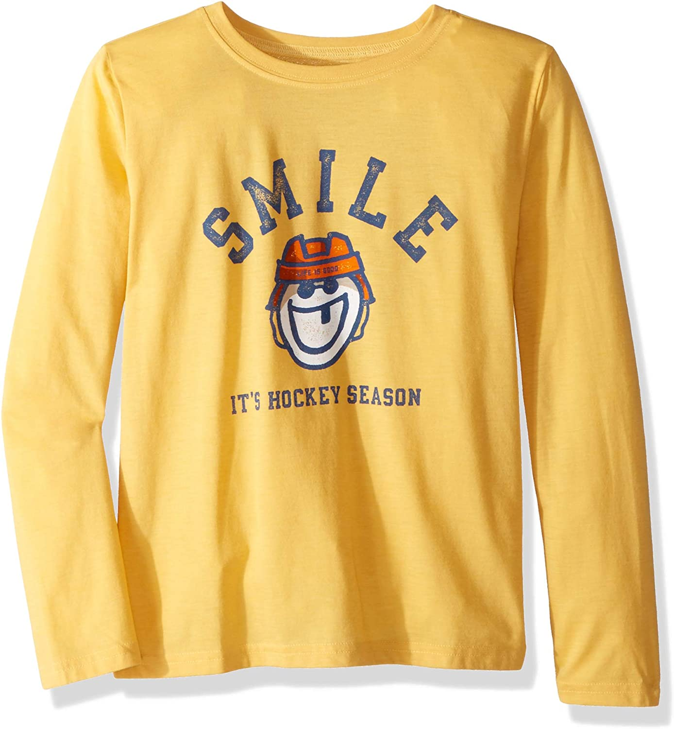 Life is Good Boys Crusher Graphic Long Sleeve T-Shirt Collection,Hockey Season,Large
