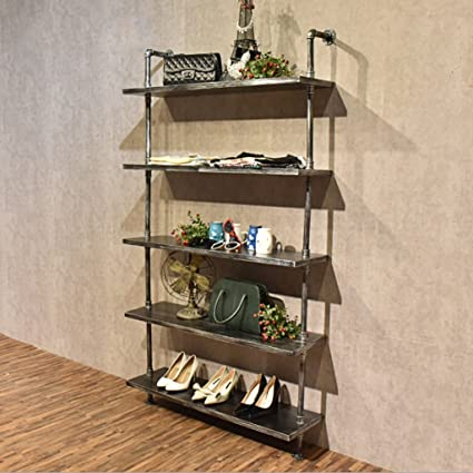 Bookshelf Creative Bars On The Wall Rack Clothing Store Display Shoe Retro Decorative Flooring
