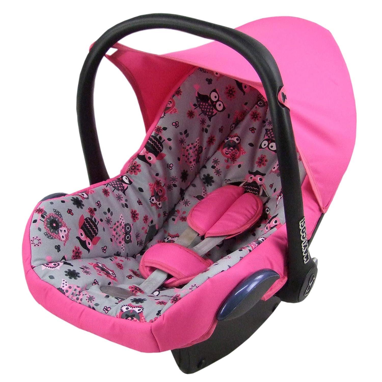 Bambiniwelt Ersatzbezug Für Maxi Cosi Cabrio Fix 6 Tlg Bezug Für Babyschale Sommerbezug Rosa Mit Grauen Eulen Baby