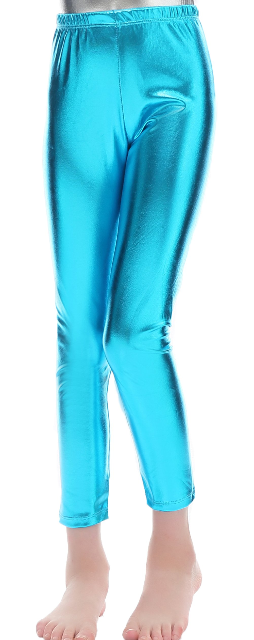 Speerise Girls Kids High Waisted Shiny Metallic Dance Fashion Leggings, Turquoise, 4-6