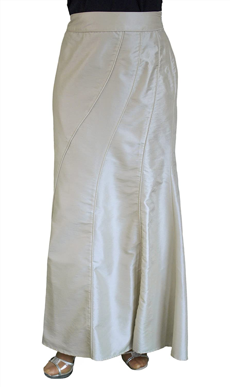 Aftershock Long Ivory Cream Taffeta Evening Maxi Skirt