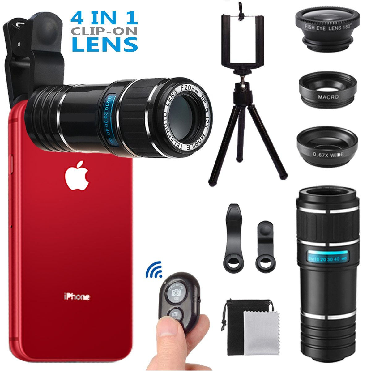Phone Camera Lens, MSDADA Telephoto Lens Kit, 12X Optical Telescope, Fisheye, Wide Angle and Macro Lens, Retractable Tripod with Bluetooth Shutter for IPhone, Samsung, Most of Smartphones,Tablets by MSDADA (Image #1)