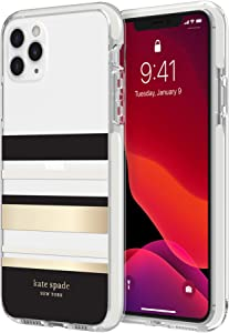 kate spade new york Park Stripe Case for iPhone 11 Pro Max - Defensive Hardshell with Cream Bumper