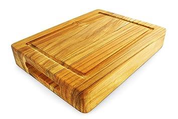 Terra Teak Bar Board, Small Wood Cutting Board With Groove   12 X 9 X
