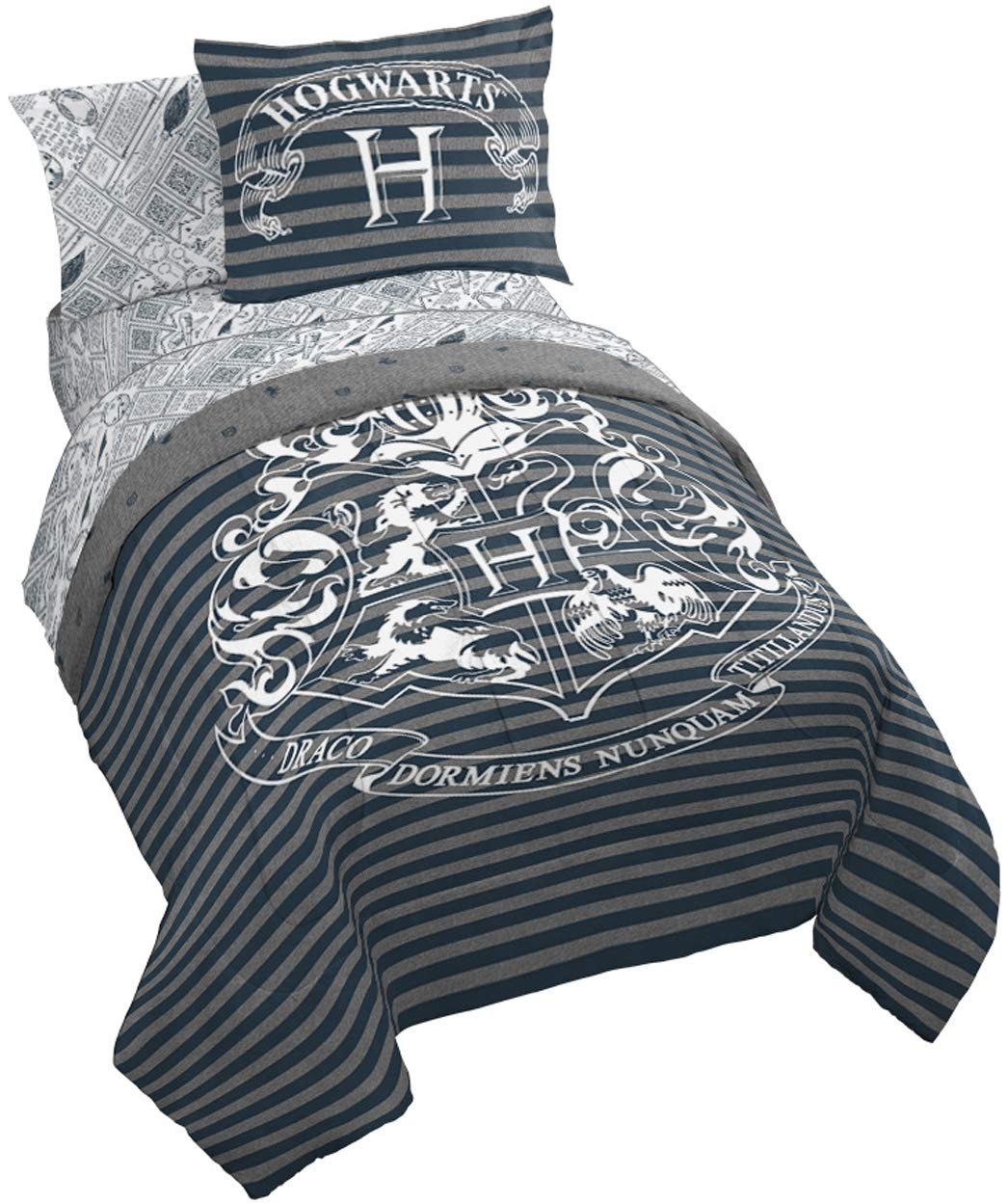 Jay Franco Harry Potter Draco Dormiens 7 Piece Queen Bed Set, Gray by Jay Franco