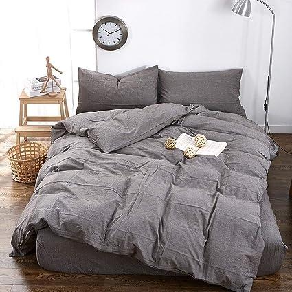 grey duvet cover queen Amazon.com: VClife Grey Bedding Sets Washed Cotton Duvet Cover  grey duvet cover queen