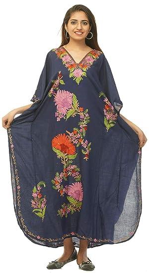 c1dfc6edf5e Odishabazaar Cotton Kashmiri Aari Work Designer Kaftan Maxi Dress ...