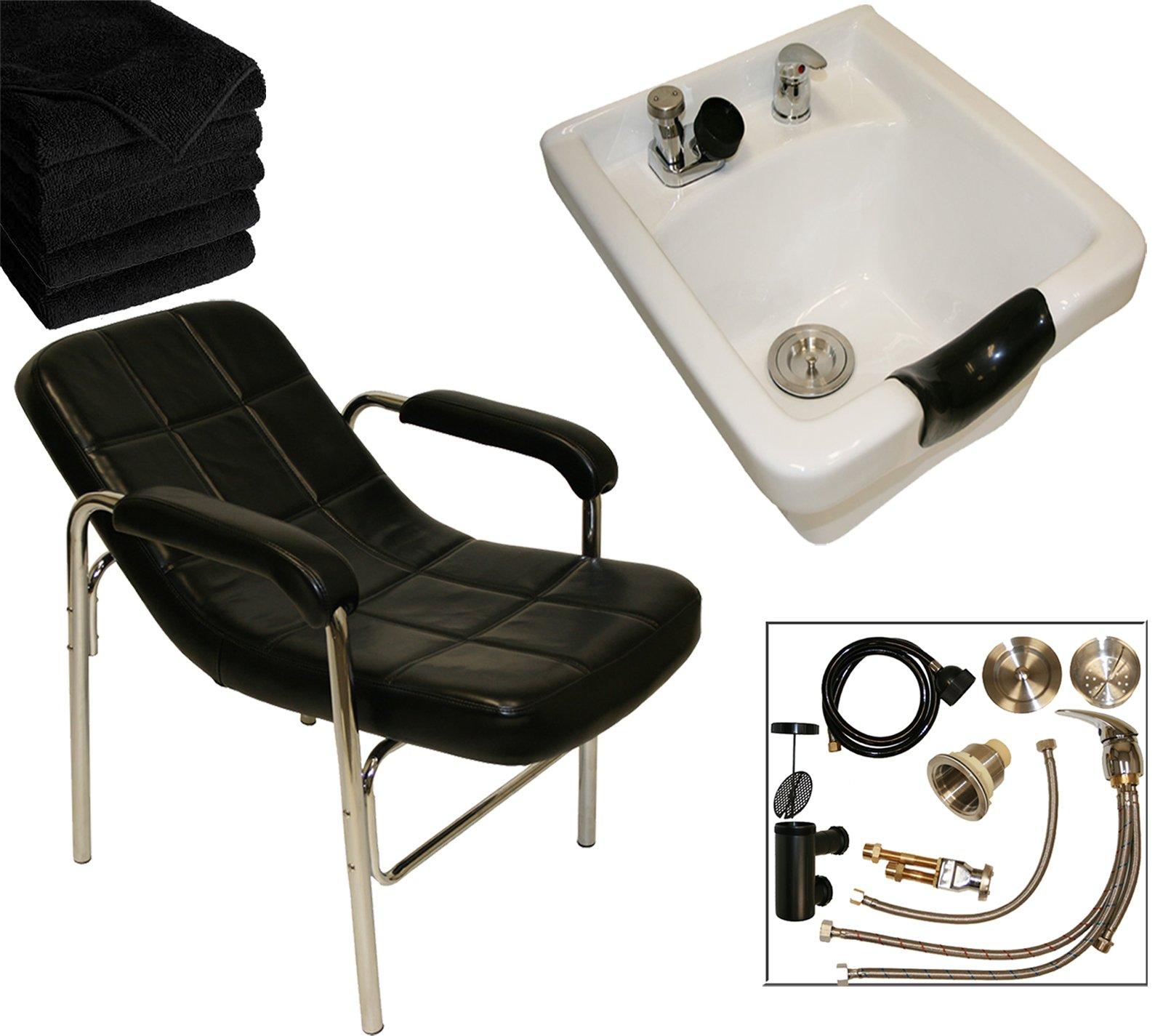 LCL Beauty Shampoo Package: Comfort-Curve Contemporary Slingback Shampoo Chair & White Ceramic Shampoo Bowl