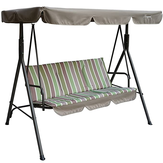 Kozyard Alicia Patio Swing Chair with 3 Cushion Seats – Most Economical Porch Swing with Canopy