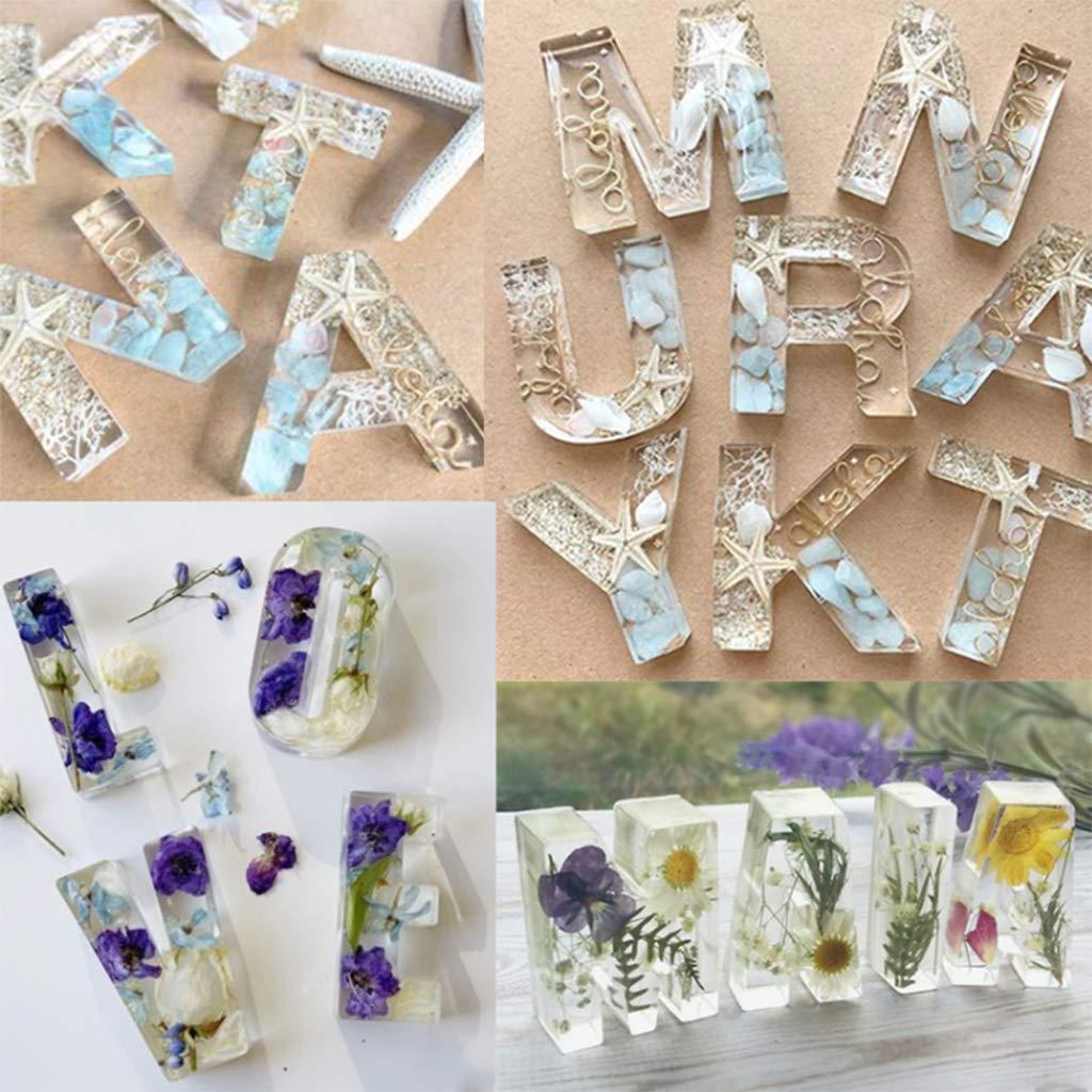 huyiko 26 Pcs//Set Cristal /Époxy Anglais Lettres Alphabet Silicone Moule DIY /À La Main Bijoux Cr/éatif Pendentif Mod/èle UV Moule