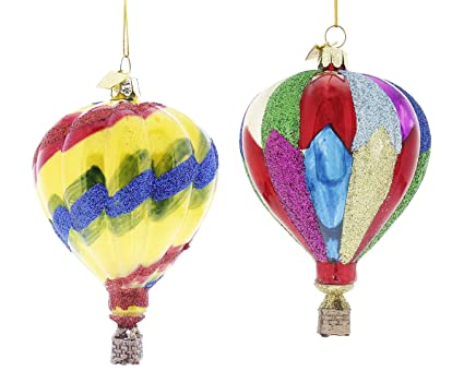 kurt adler noble gems hot air balloon christmas ornaments 2 assorted