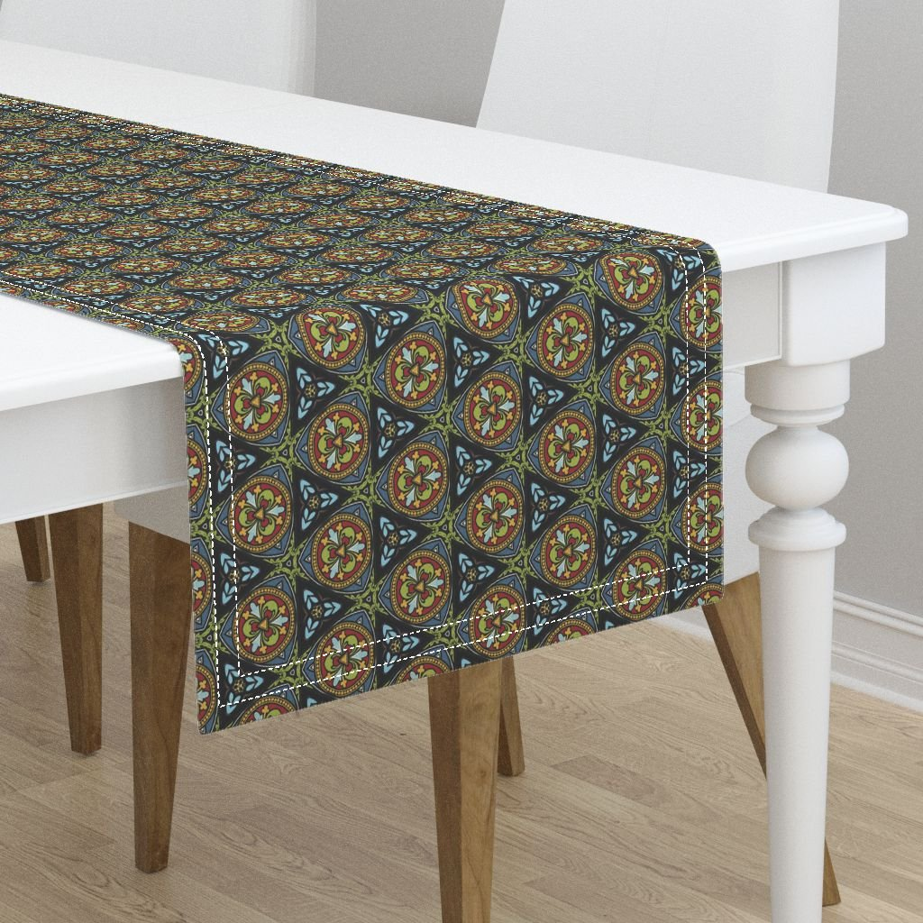 Table Runner - Stained Glass Medieval Geometric Bright Window Leading by Peacoquettedesigns - Cotton Sateen Table Runner 16 x 72