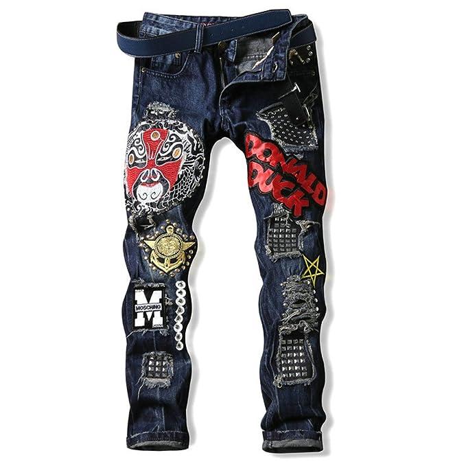 Rip de lujo Pantalones Vaqueros hombres Designer Slim ...