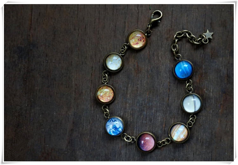 Space Galaxy /étoiles de bijoux bracelet Syst/ème solaire Plan/ète de bracelet PUR fait /à la main. bracelet