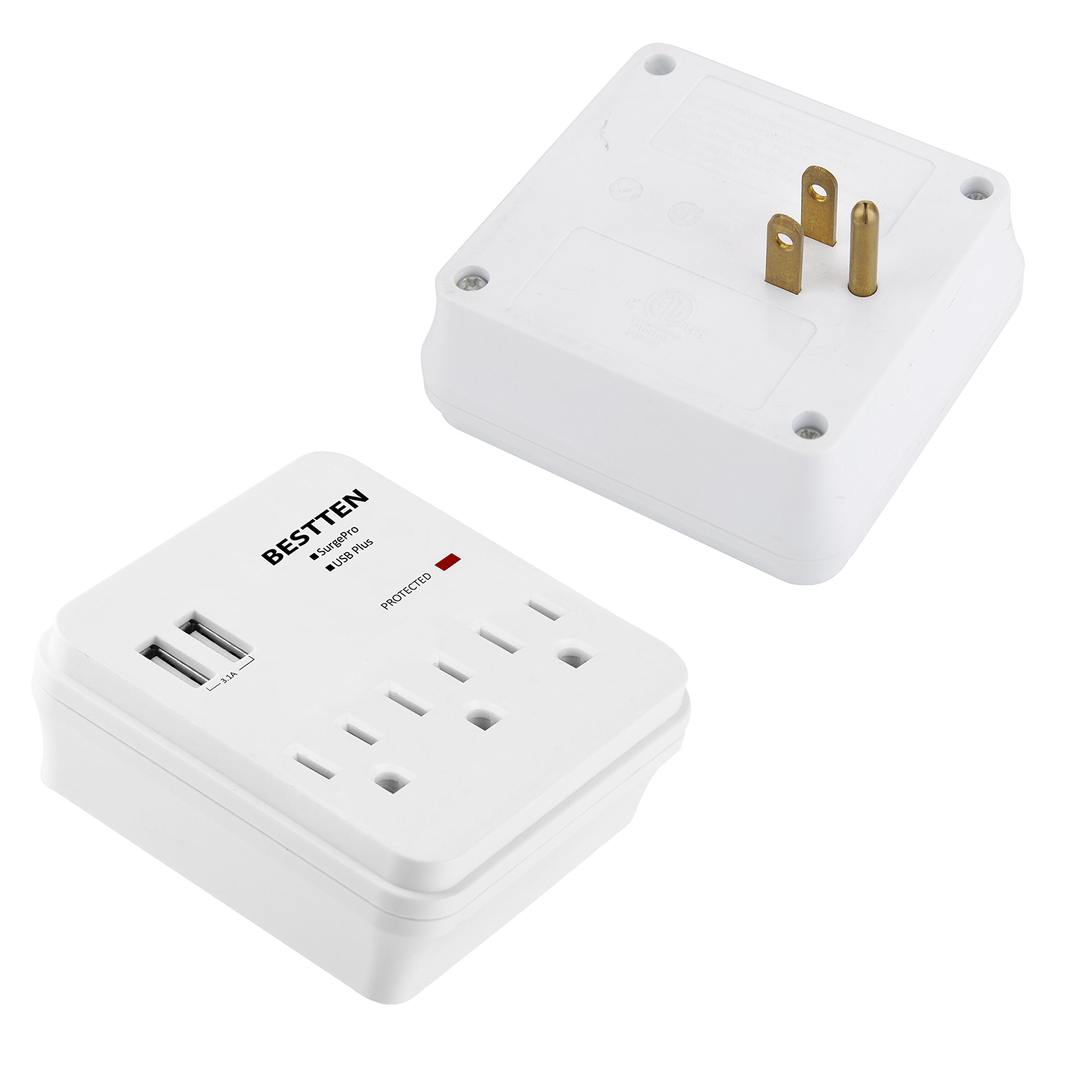 BESTTEN USB Wall Tap Surge Protector, 2 USB Charging Ports (2.4A/Port, 3.1A Total) and 3 Electrical Outlets (15A/125V/1875W), Multiple Plug-In Splitter, ETL Certified, White by BESTTEN (Image #6)