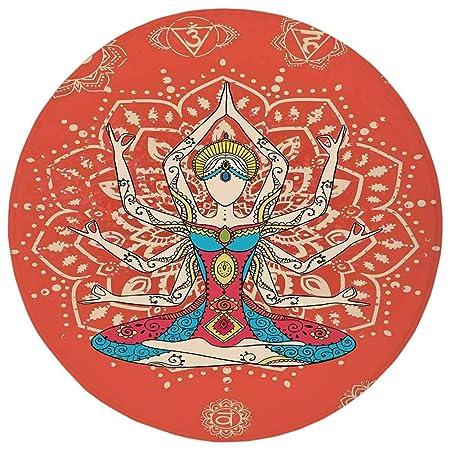 Round Rug Mat Carpet,Yoga Decor,Yoga Technique with Ethnic ...