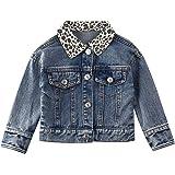 Toddler Baby Girls Denim Jackets Leopard Print Button Down Coats Outwear