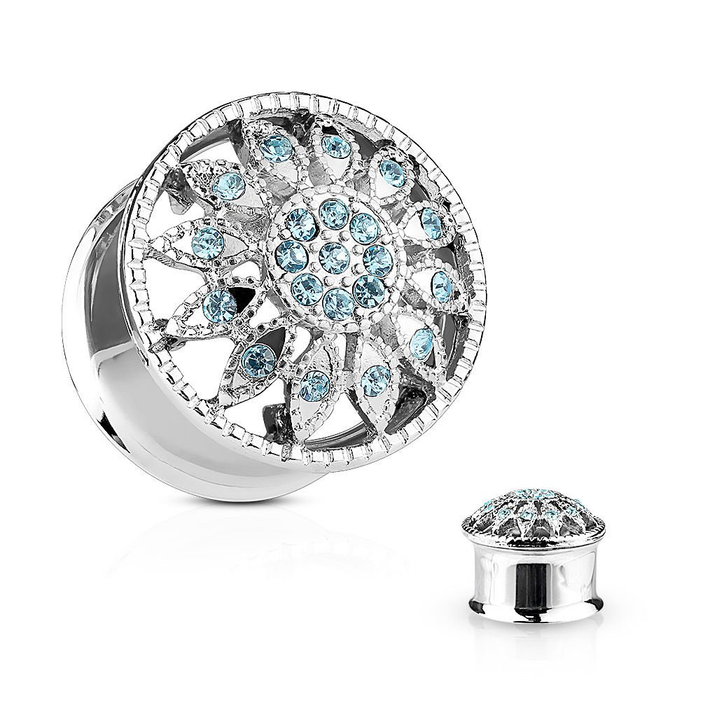 PAIR of Aqua Crystal Paved Flower Tunnels Plugs - Body Jewelry (2g (6mm))