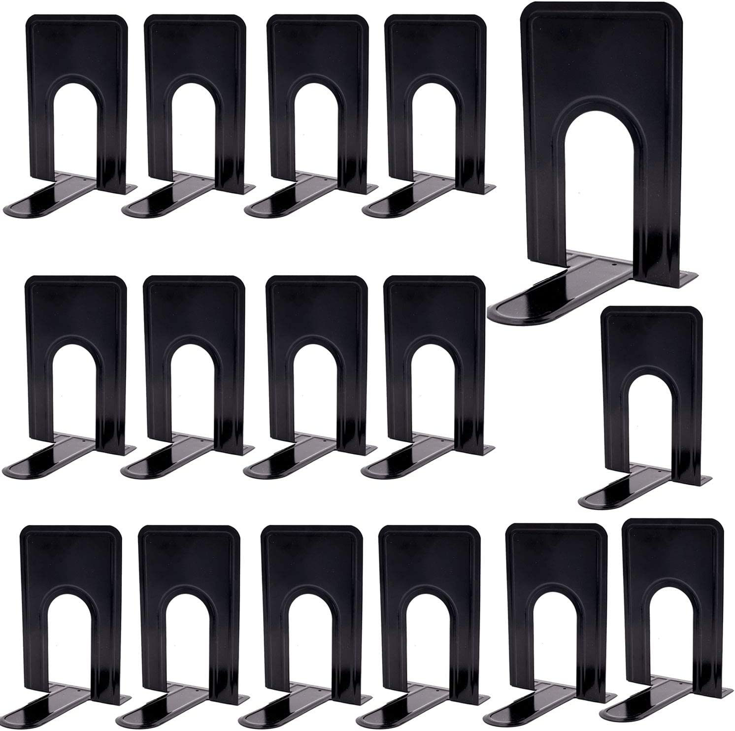 KINJOEK 8 Pairs 16 Pieces 8.3 x 5.1 x 6.5 Inch Metal Bookends, Heavy Duty Book Support with Anti Slip Pads for Books, Magazines, DVDs, Perfect for Home, Office, School, Library, Black