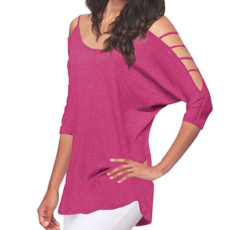 Camisetas Manga Corta para Mujer❤️EUZeo❤️Hombro Frío De Elegante Moda Blusa Color Sólido Mujer Camisas Algodón Ropa Mujer Fiesta Camisetas Sin Hombros ...