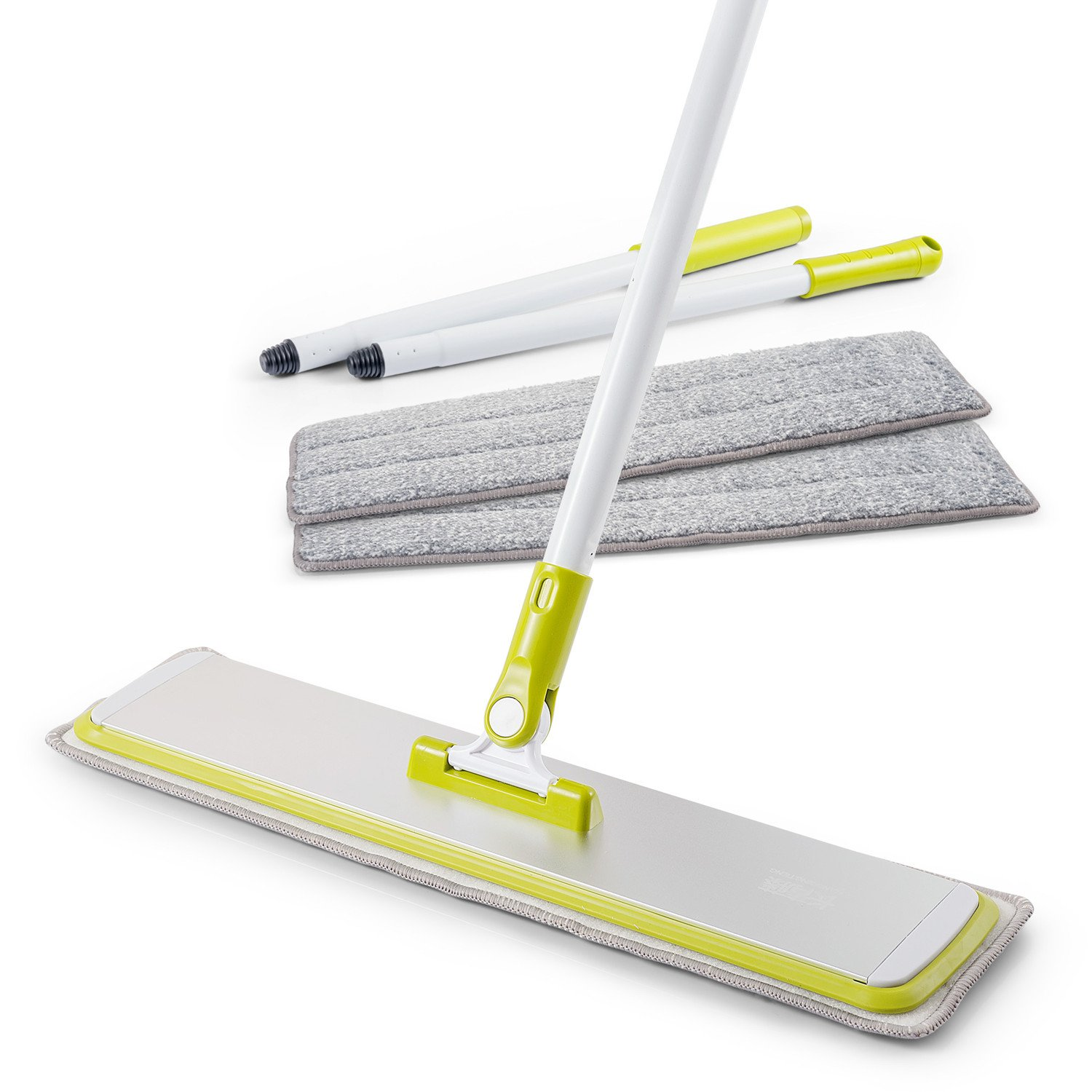 Microfiber Hardwood Floor Mop Kit with 3 Reusable Washable Pads, 360 Degree Handle Flat Mop for Wet and Dry Wood Floor Cleaning, Kitchen, Bathroom, Home, Office, Hardwood, Laminate, Tiles (18.11inch)
