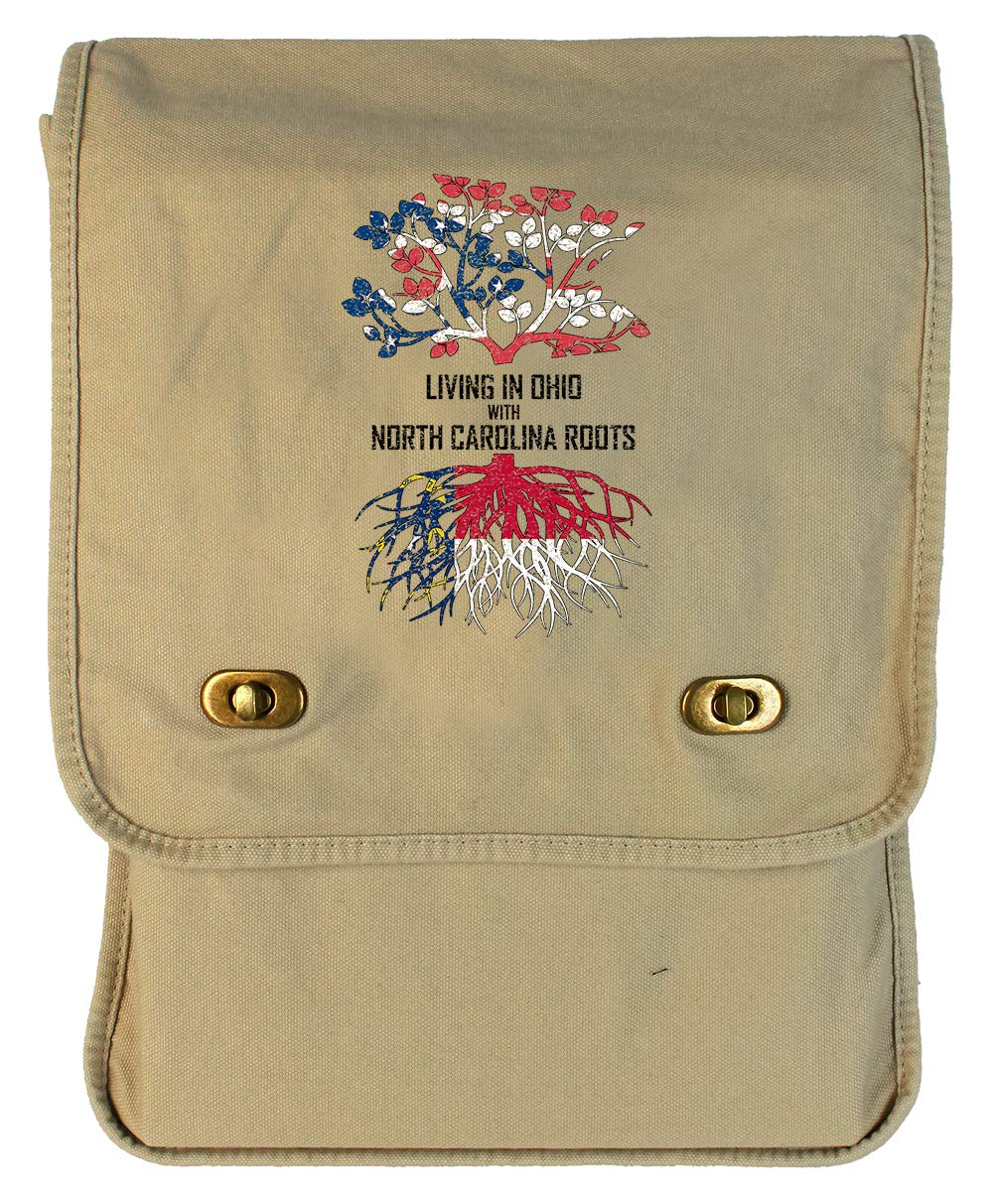 Tenacitee Living In Ohio with North Carolina Roots Putty Raw Edge Canvas Messenger Bag