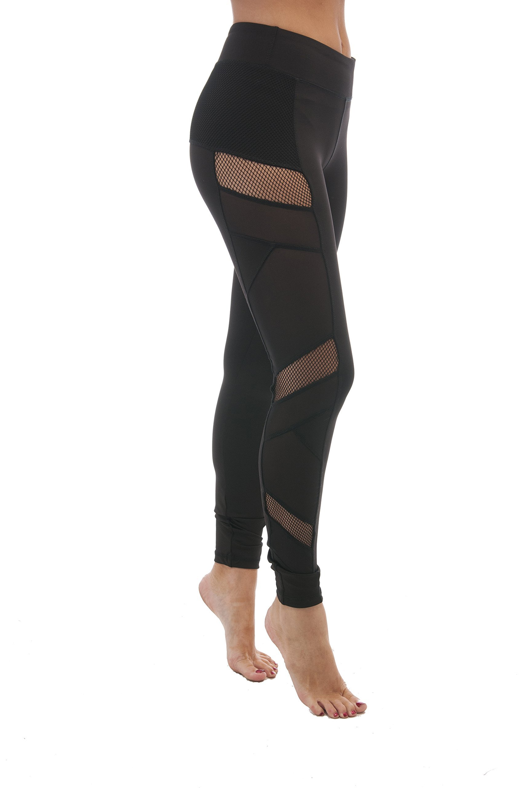 Hollywood Star Fashion Fish Net Mesh Side Active Wear Leggings (Large, Black)