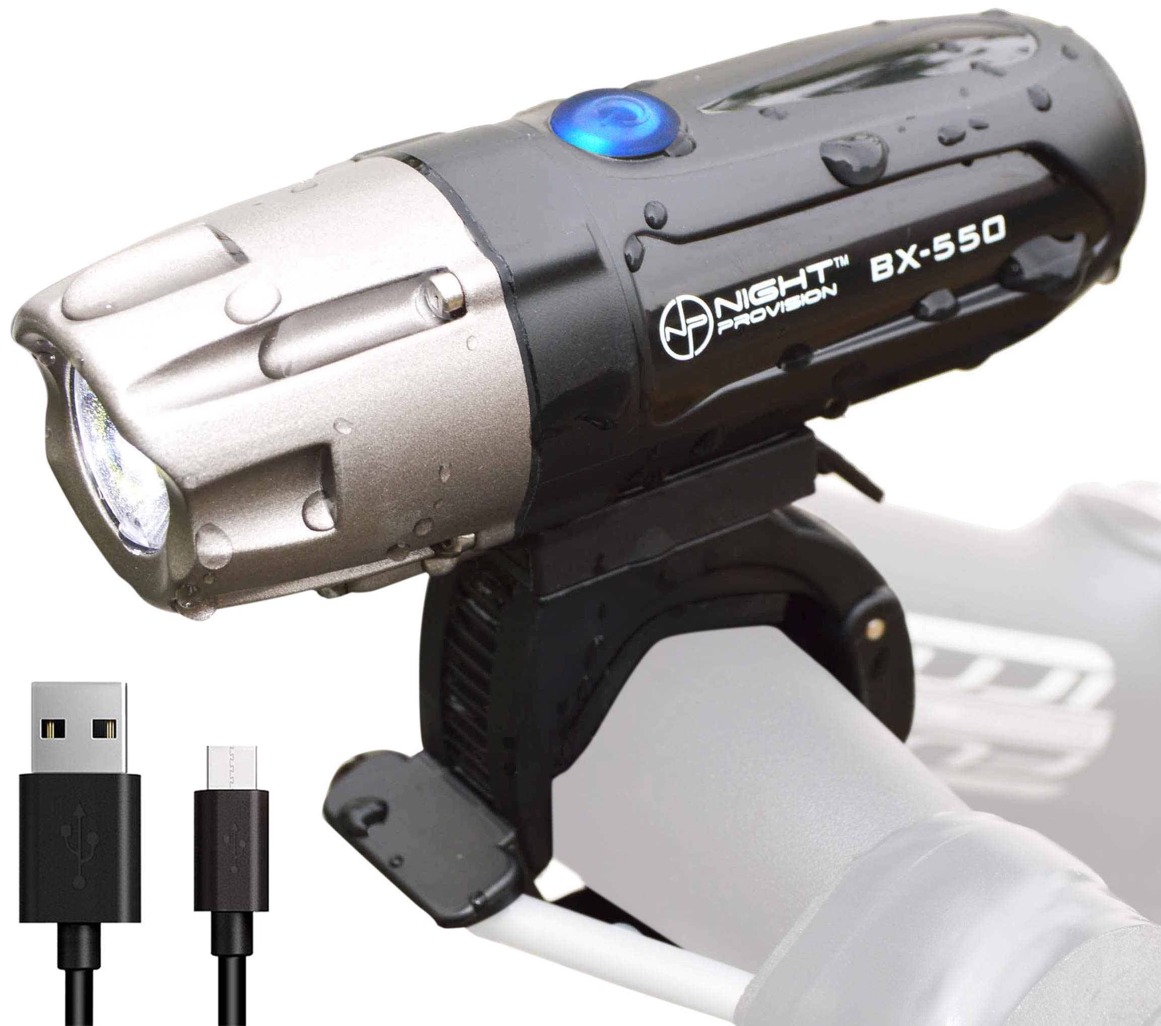 Night Provision Powerful BX-550 USB Bike Light with Removable Battery - Front L2 LED Headlight - 550 Lumens MAX - Rechargeable Bicycle Lights