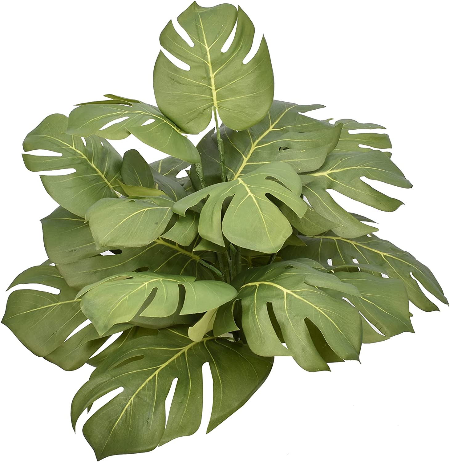 6 Piece Artificial Palm Plants Monstera Deliciosa Tropical Green Leaves Decor, Large Fake Faux Indoor Outdoor Plant Imitation Leaf for Home Kitchen Wedding Party Decor Flowers Arrangement(15