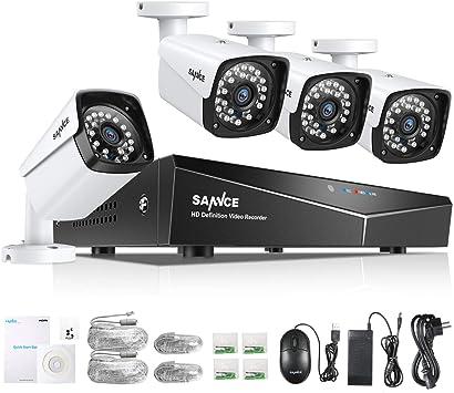 ANNKE 4 C/ámaras Bala de Seguridad 720P CCTV IR-Cut IP66 Impermeable Interior//Exterior Detecci/ón de Movimiento Alarma Email
