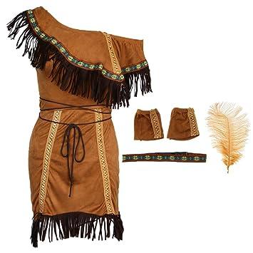 P Prettyia Indio Traje de India Mujeres Nativo Americano Accesorios de Celebración de Flecos Brazalete Máscara - L: Amazon.es: Juguetes y juegos