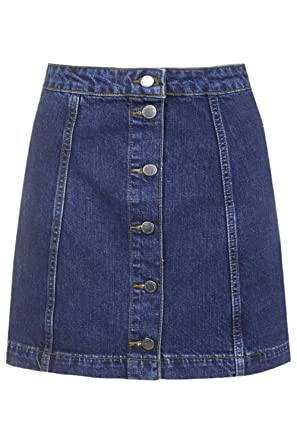 Dixperfect A-Line Denim Skirt with Front Button for Women at ...